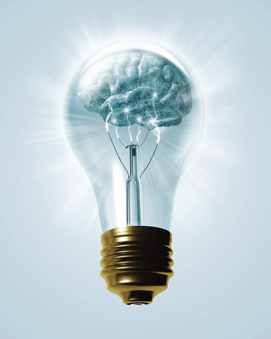 Brain Inside Light Bulb