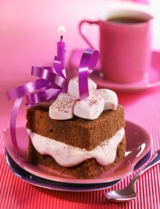 Chocolate and marshmallow birthday cake