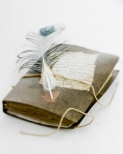 Old diary with quill pen
