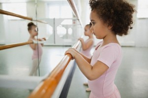 Girls practicing ballet in ballet studio