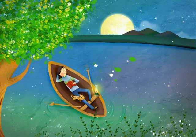 A scenery with a person sleeping in a boat